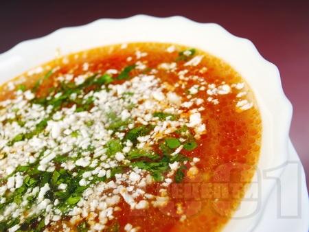 Постна градинарска супа със зеле, картофи, зелен боб и чушки - снимка на рецептата